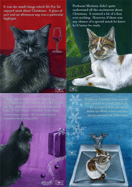 Christmas cards featuring Mr Poe Sir and Professor Moriarty