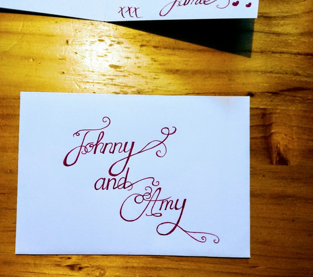 Calligraphy on envelope