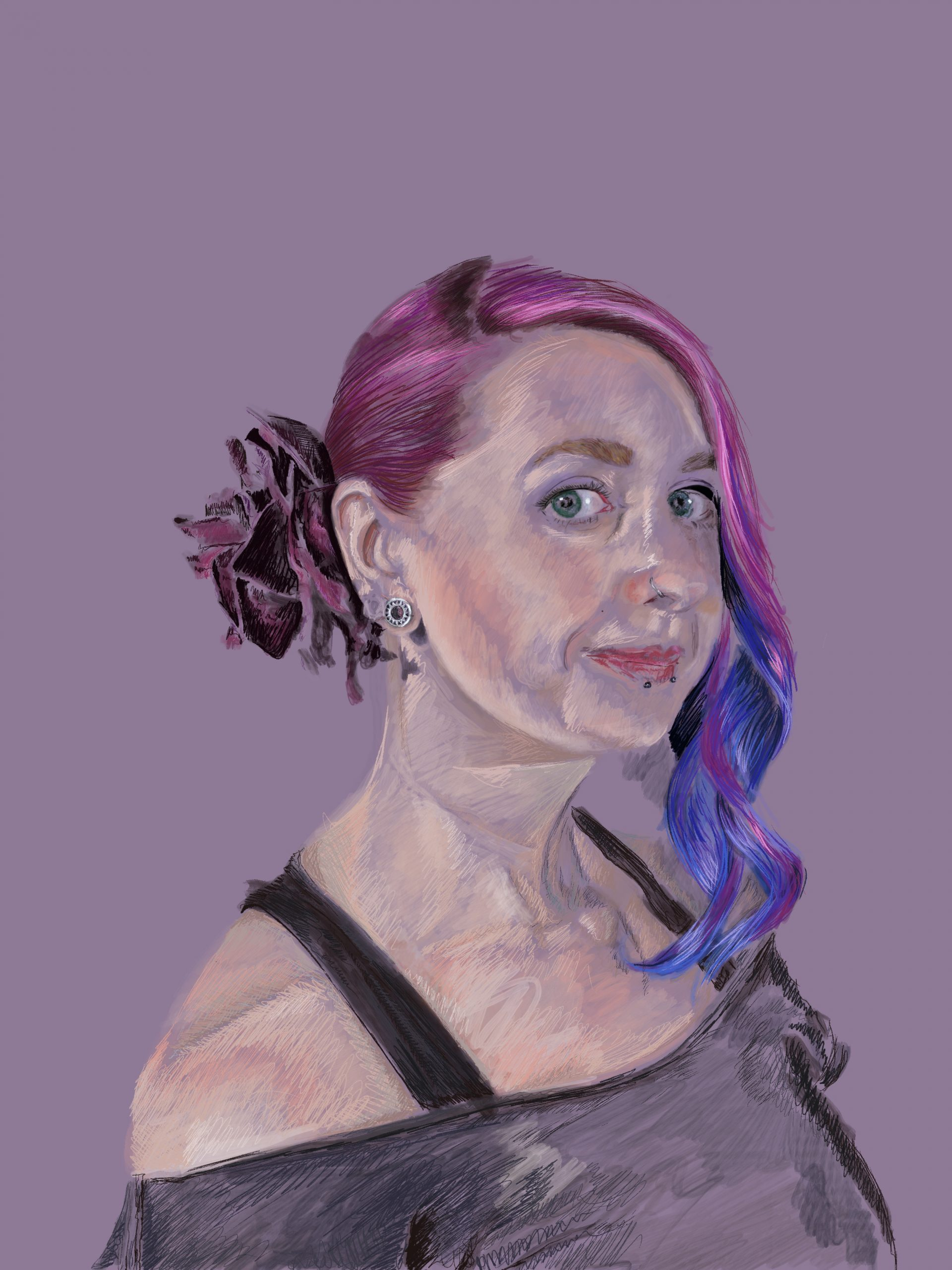 Self portrait. Pink and purple hair and a lilac background